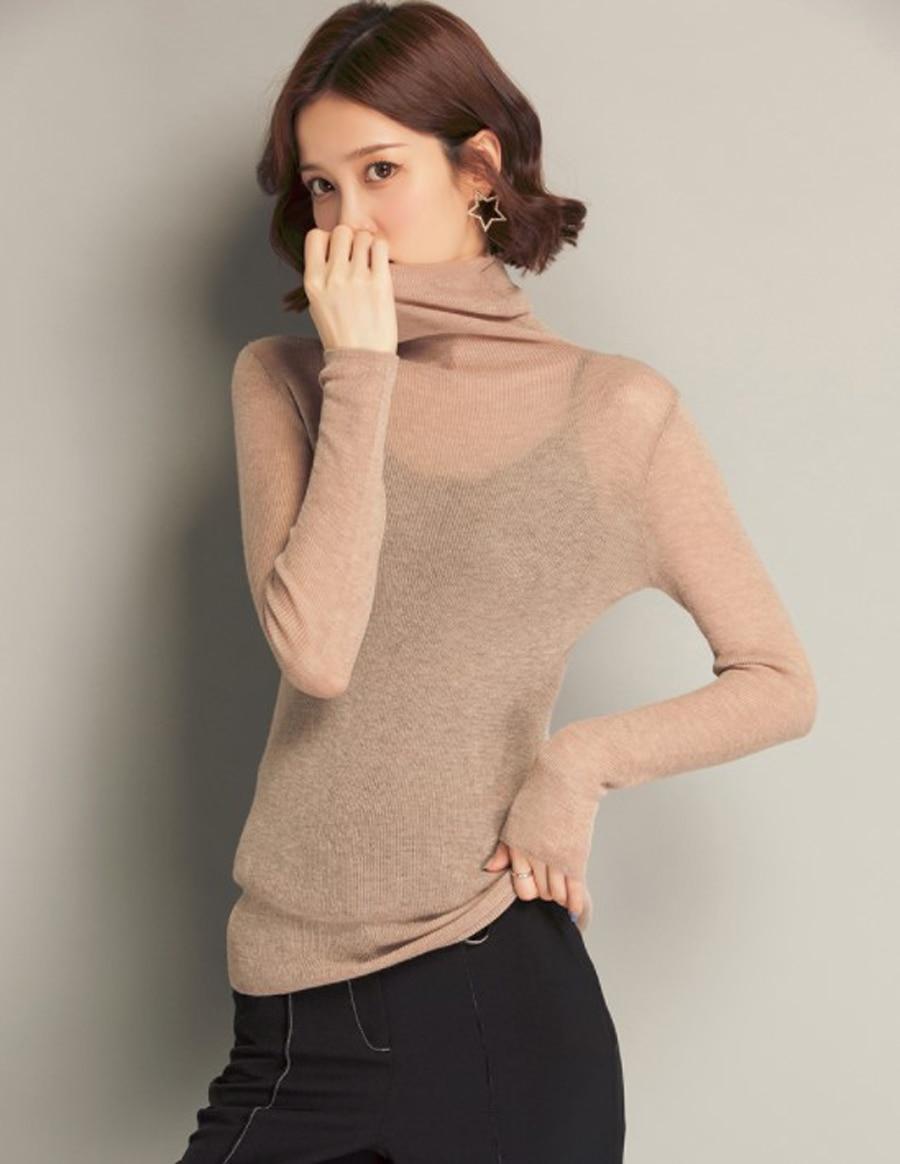 J.DeL'or women's turtle neck super light wool sweater super fine yarn super stretch sweater