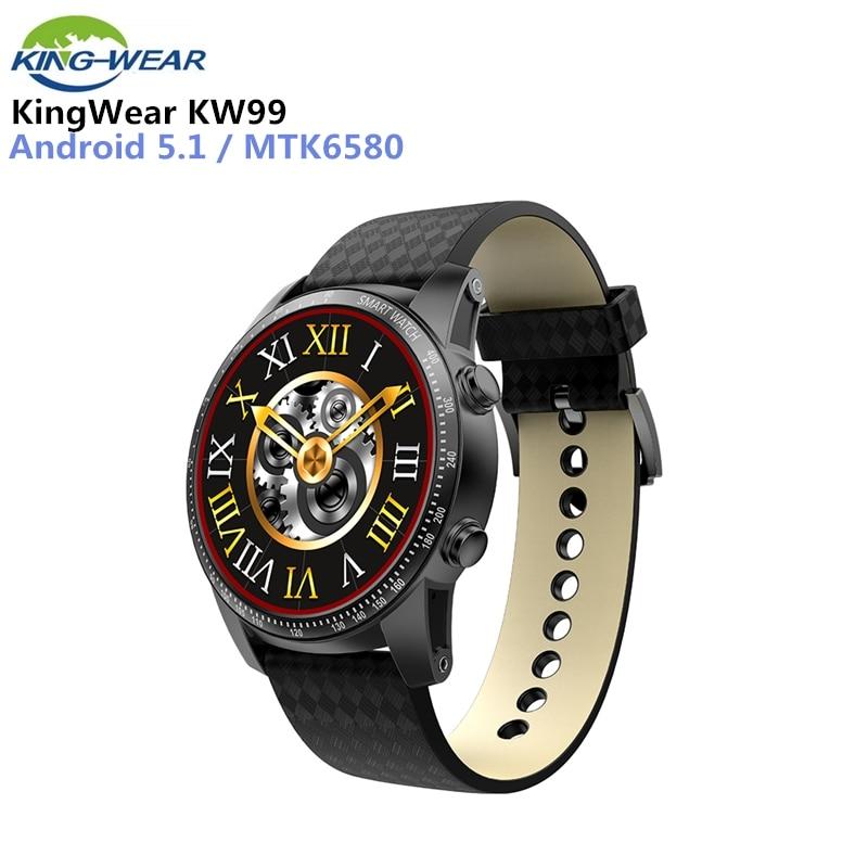 KingWear KW99 3g Smartwatch Bluetooth 4,0 Telefon Android 5.1 1,39 zoll MTK6580 Quad Core 1,3 ghz 8 gb ROM 512 mb ROM 8 gb