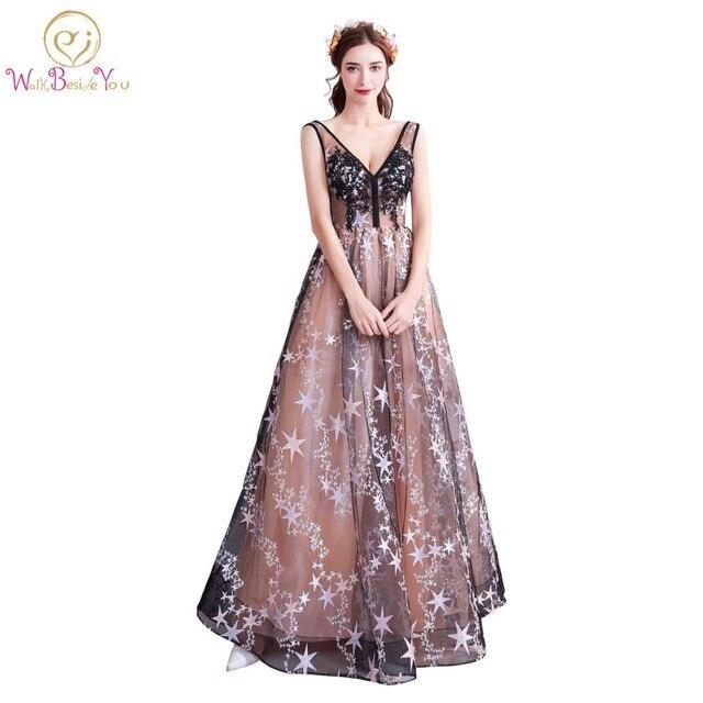 Walk Beside You robe longue Evening Dresses Black Gray Lace ...