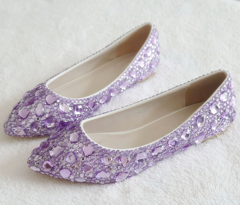 2019 New Fashion Single Shoes Bling Rhinestone Wedding Shoes Flat Purple Women 39 s Flat Heel Casual Shoes XY A0176 in Women 39 s Flats from Shoes