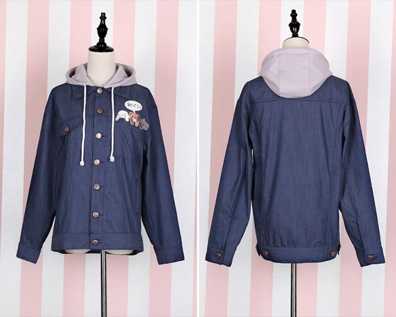Cute Girls Lolita Pink Jeans Denim Jacket Detachable Hat Hooded Long Sleeve Coat Outwear