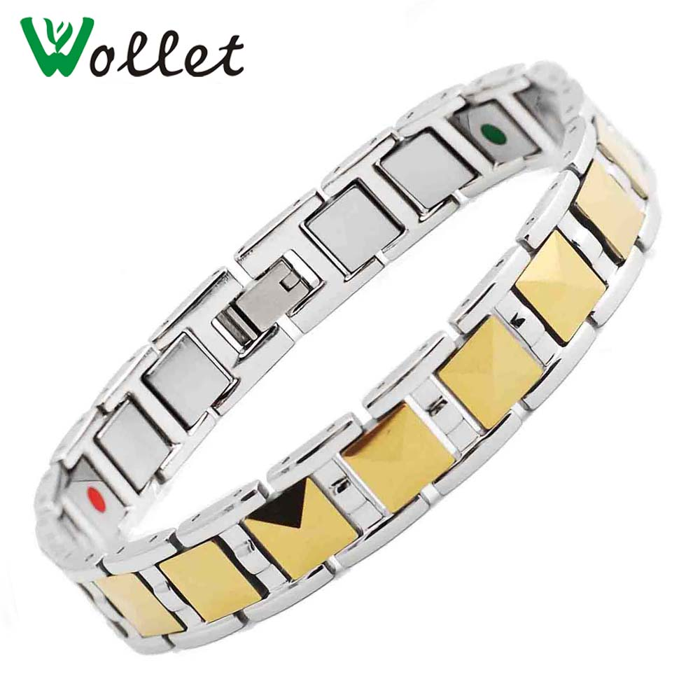 Wollet Fashion Jewelry Health Care Infrared Germanium Tourmaline Negative Ion Magnet Carbide Gold Magnetic Tungsten Bracelet Men