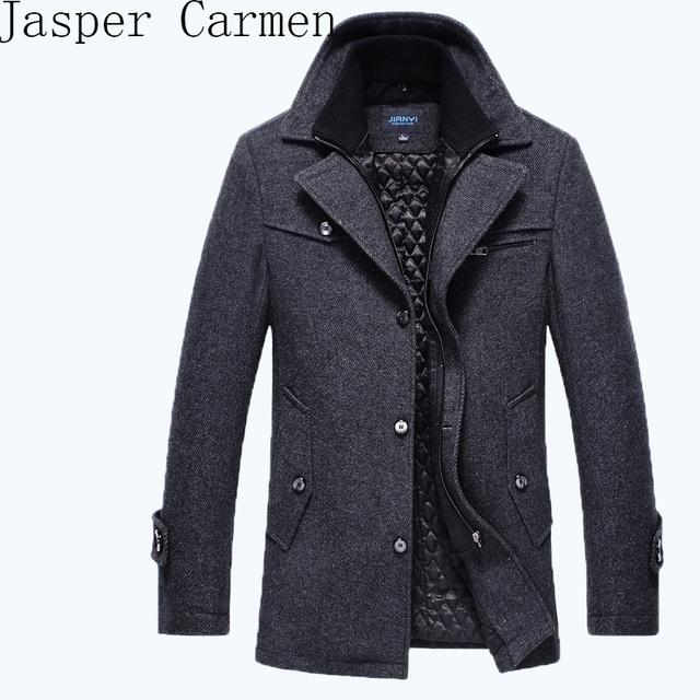 Frete grátis Novo 2016 outono/inverno da marca de moda masculina dos homens longa seção marca dos homens mais casaco de algodão grosso lã coat158