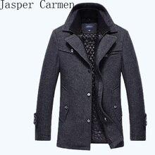 Бесплатная доставка Новый 2016 осень/зима мужская мода бренд мужской длинный отрезок бренд мужской плюс хлопок пальто толстые шерстяные coat158