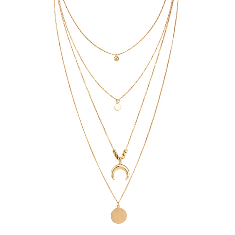 Star And Moon Multi Layer Pendant Necklace For Women Collier Femme Fashion Jewelry 2018