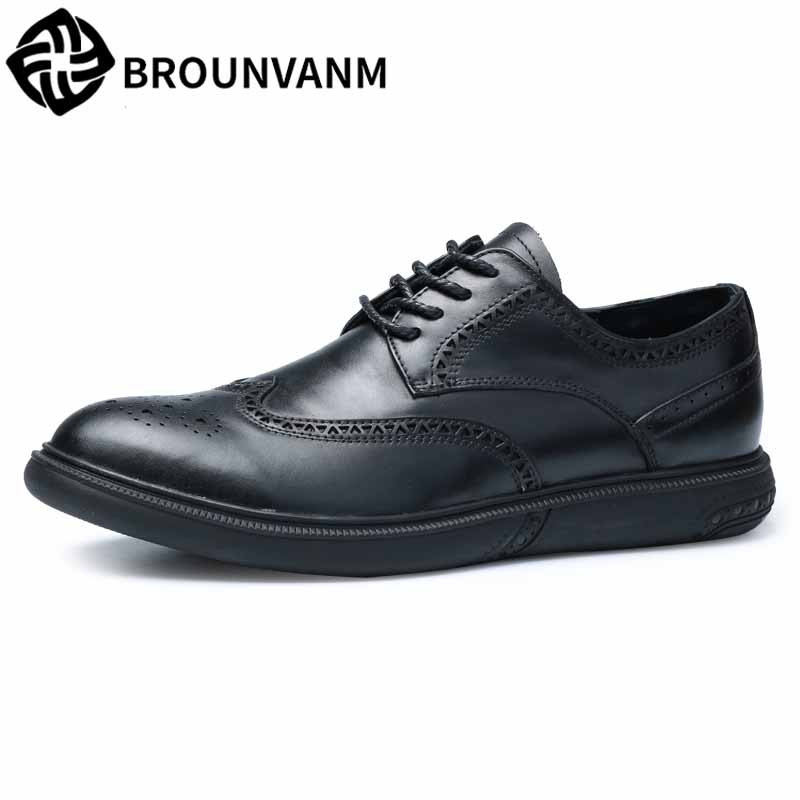 men's business casual shoes bullock British real leather spring autumn breathable all-match cowhide breathable Leisure shoes men цена