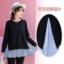 9193# 2018 Autumn Korean Fashion Maternity Shirts Long Sleeve Back Splits Clothes for Pregnant Women Elegant Pregnancy Tops