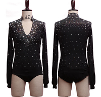 2019 New Shiny Crystal Black Latin Dance Bodysuit For Male Long Sleeve Practice Clothes Stage Adult Men Ballroom Practice Tops