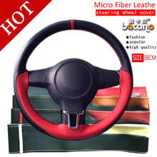 ФОТО braid on steering wheel car steering wheel cover with needles and thread artificial leather diameter 38cm auto car accessories