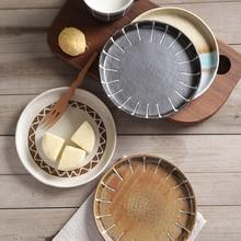Placa de cerámica Condimento Plato Inicio Cocina Comedor Bar de estilo Japonés Vajilla Cubertería Creativo Ronda Postre Plato de Sushi