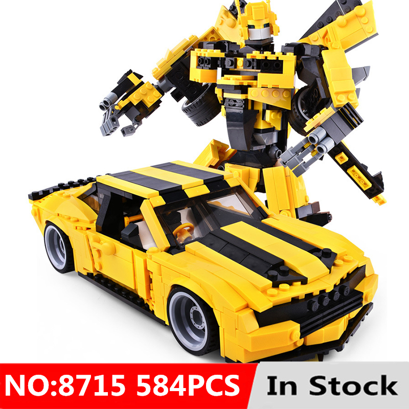 2 In 1 Robot Yellow Car Blocks Building Blocks Bricks 584pcs Legoing Bee Models Educational Toys For Children Kid Birthday