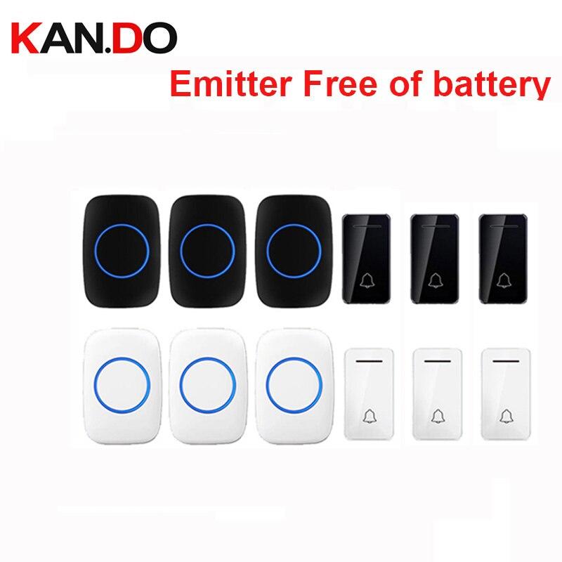 Wholesales 3 Push 3receiver Wireless Door Bell Emitter Free Of Battery Wireless Doorbell Ip44 200M Work Chime Door Ring 110-240V