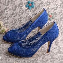 Wedopus MW216 Breathable Blue Lace Bridesmaid Shoes Peep Toe High Heels