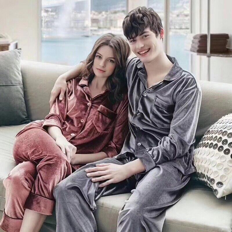 JULY'S canción hombre mujer Otoño e Invierno conjunto de pijamas de ropa de dormir par de Pijamas de terciopelo de oro Top y pantalones de pijama de manga larga Homewear