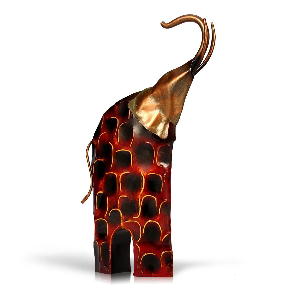 TOOARTS Metal Sculpture Raising Head Iron Art Elephant Home Furnishing Articles