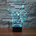 Pikachu LED lámpara de Mesa lámpara de Luz de La Noche 3D 7 Colores Ilusión Pokeball Charmander Novedad Iluminación Niño Juguetes Para Niños