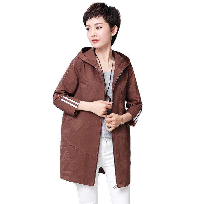 New arrival spring long hooded trench coat for women solid color fashion ladies outerwear plus size 5xl female overcoat tops in Trench from Women 39 s Clothing