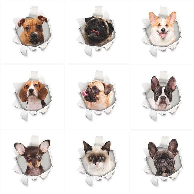 3D вид Собаки Кошки отверстие наклейки на стену для ванной Ванная комната украшения из ПВХ дома для декора кухни настенные наклейки на холодильник Art Наклейки