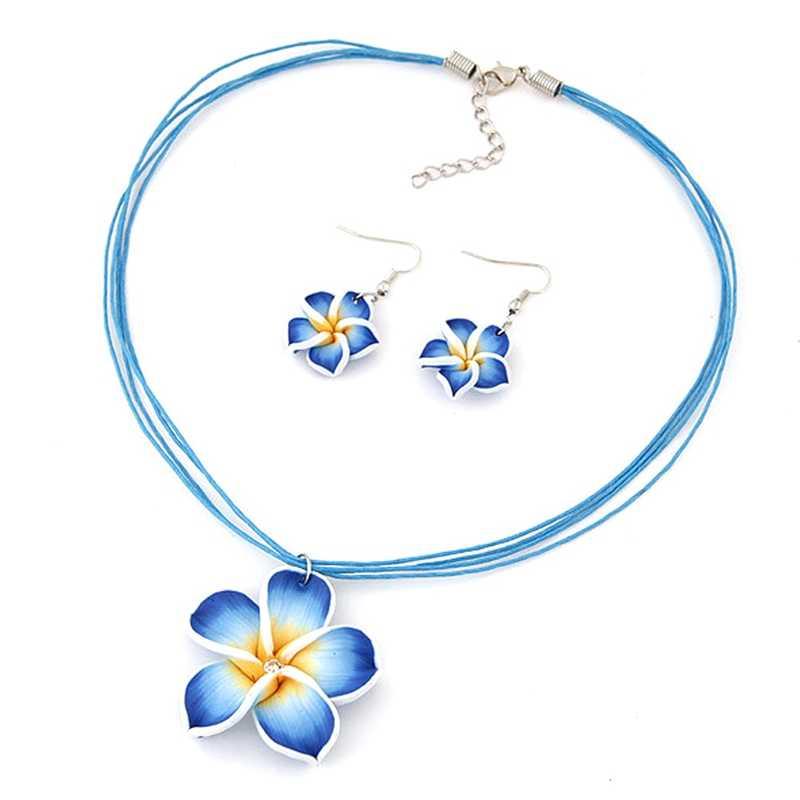 Niños bebé niña colgante collar azul dulce flor collar regalo de Navidad pendientes joyería conjunto niños cumpleaños fiesta regalo