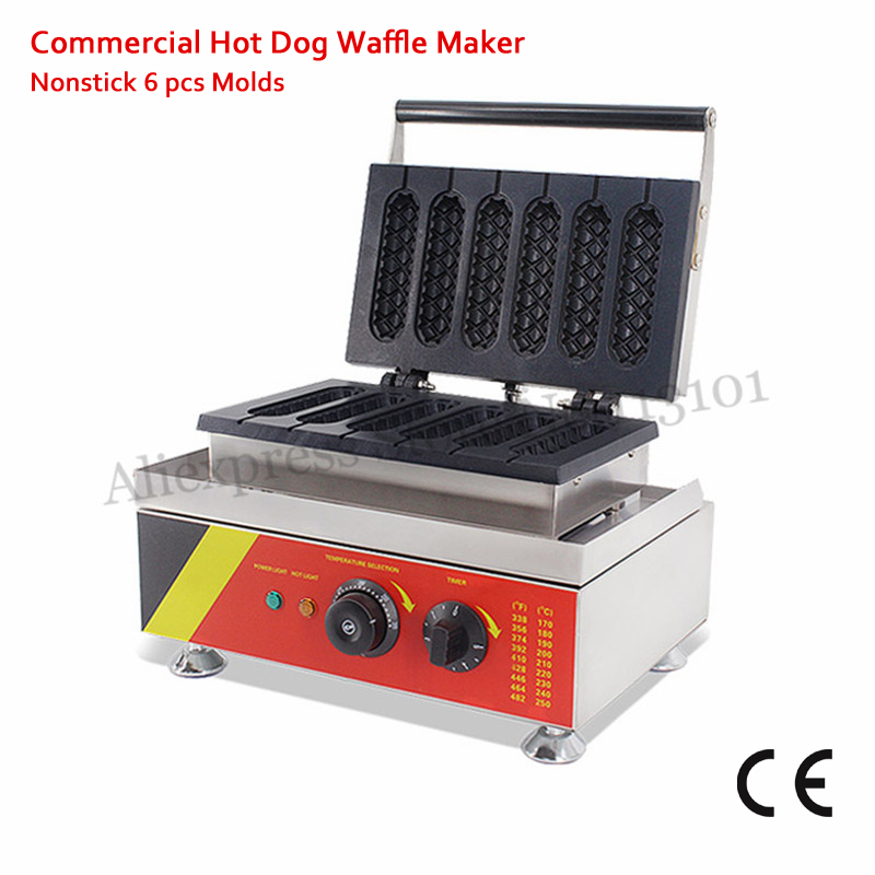 110V 220V Lolly Hotdog Waffle Maker Commercial Non-stick Muffin Hot Dog Waffle Machine 1500W 6 Molds with Timer Free Shipping