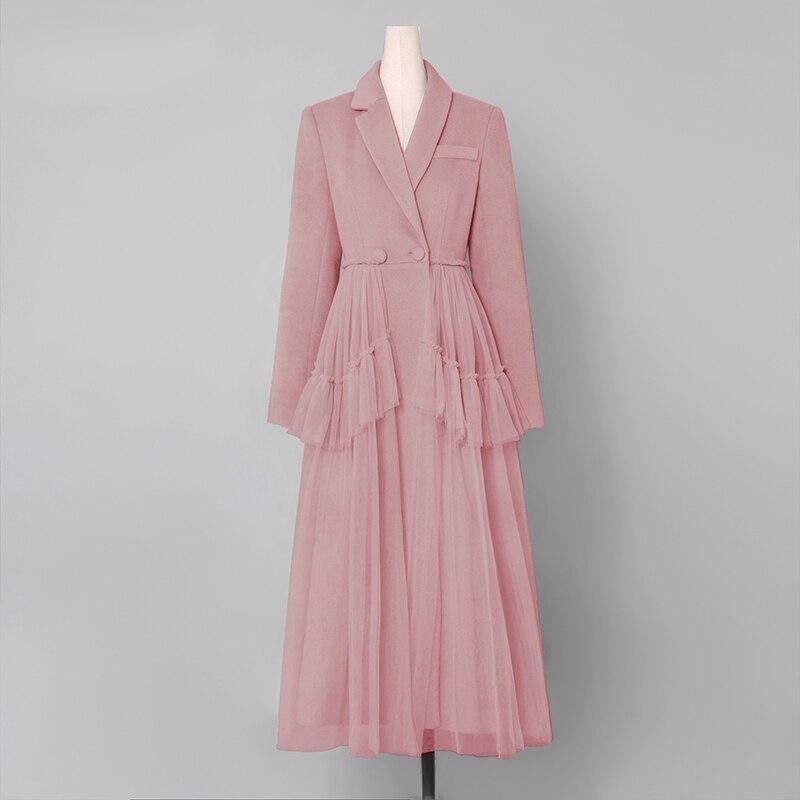 Vintage Manteau Rose Laine Drapé Pleine Breasted Mode Le Robe Ab99 Longue Survêtement Manches Mesh Sheer Tournent Vers Bas Double qFf66t