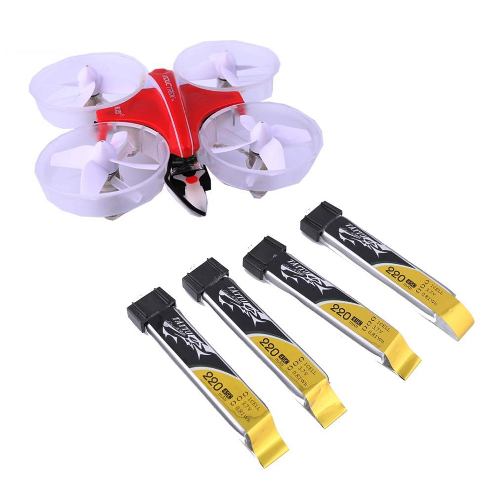 Tattu 5PCS 220mAh 3.7V 45C 1S LiPo Battery Pack with JST 2.0 Plug for Micro Quads Tiny Whoop Blade Inductrix FPV Racing Drone