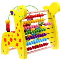 Cognitive Beaded Children's Educational Toys Multifunction Large Wooden Giraffe Abacus Beads Around Arithmetic Rack Math Toy