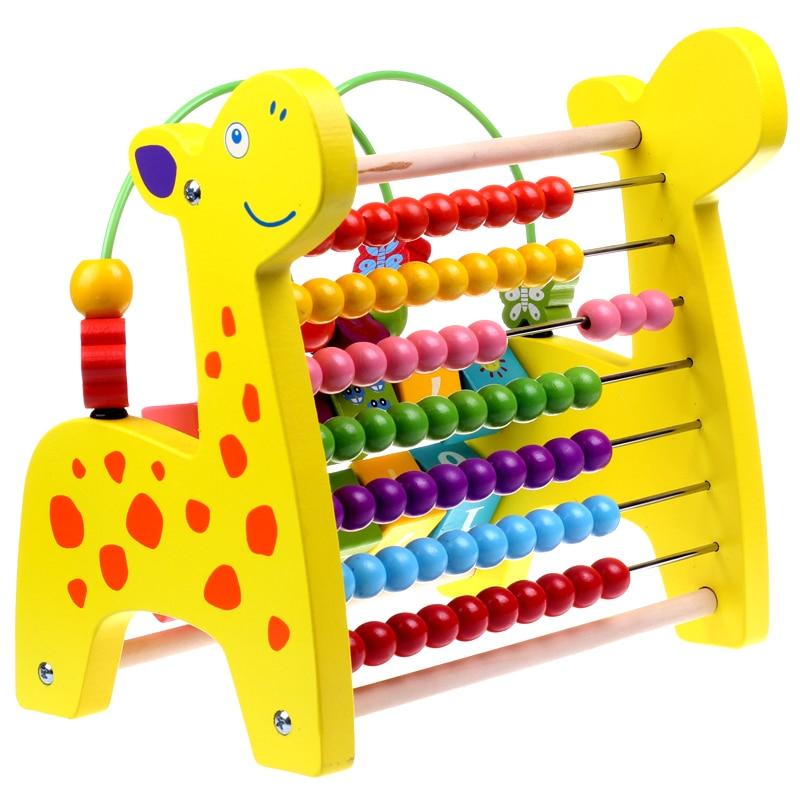Jouets éducatifs pour enfants perlés cognitifs multifonction grande girafe en bois boulier perles autour de Rack arithmétique jouet mathématique