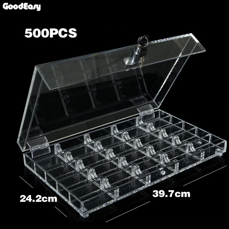 500/600PCS Acrylic Transparent Texas Poker Chips Tray/Box/Case Chips Box With Cover/Lock Casino Accessories 600 1000pcs box 14g clay chips sets with acrylic box casino crown poker 14 colors texas hold em poker chips cheap factory price