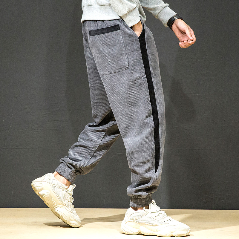Streetwear Men Clothing Harem-Pants Joggers Sweatpant-Striped Harajuku Hip-Hop Japanese