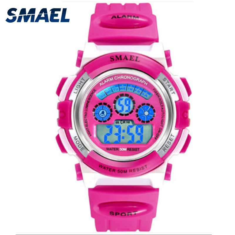 Girls Outdoor SMAEL LCD Digital Watches Children 50M Waterproof Wristwatches Shock Resistant Free Gift Box For Watches Girls0704