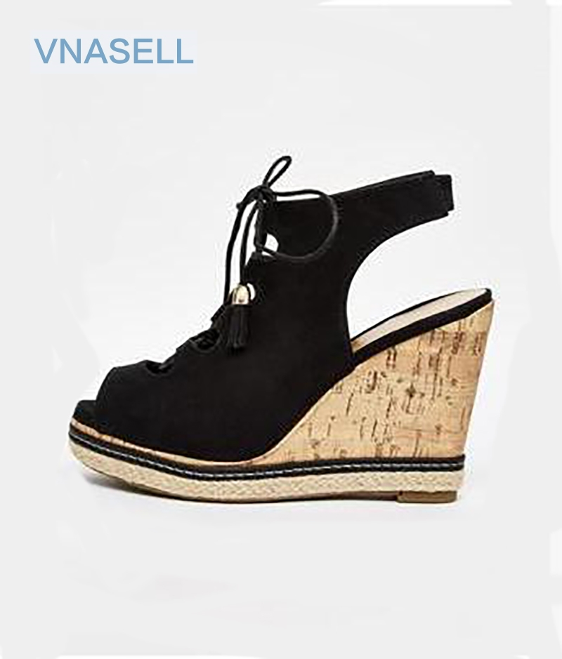 Vnasell 2017 Women Platforms Sandals  Cross Lace-Up Flock Pumps Lady Peep Toe Cut-Outs Wedges Shoes  Size 30 31 32 33 39 new trifle casual shoes women platform women shoes platforms full grain leather womens loafers cut outs wedges shoes large size