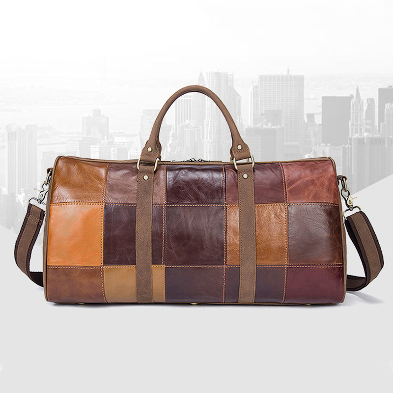 Cowhide Travel Totes Patchwork Genuine leather travel bag Men Brand business large capacity top layer leather travel duffel bagCowhide Travel Totes Patchwork Genuine leather travel bag Men Brand business large capacity top layer leather travel duffel bag