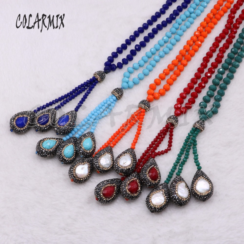 6 Strands pearl stone necklace mix colors chain handcrafted necklace beaded chain wholesale jewelry boho necklace