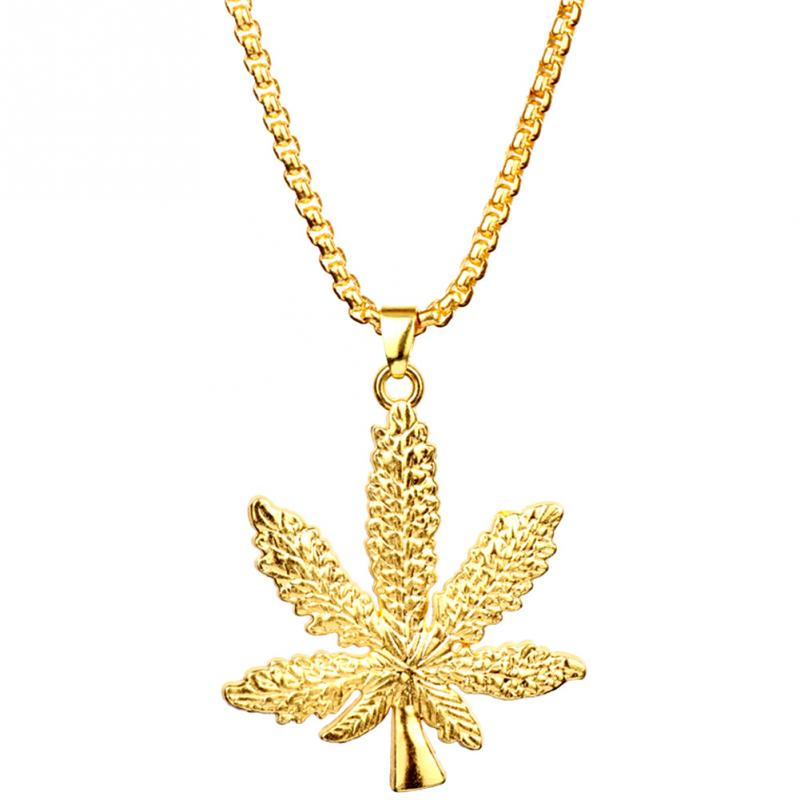 Women Fashion Necklace Gold Silver Plated <font><b>Cannabiss</b></font> Small Weed Herb Charm Maple Leaf Pendant Necklace Hip Hop Jewelry image
