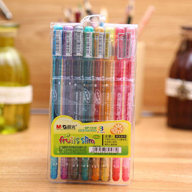Good quality Fruit fragrance 8 colors gel pen Diary record label drawing office and school stationery