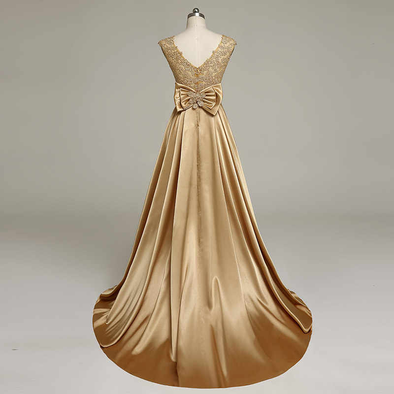 Vestidos de Noche de oro de JaneVini vestido de noche de 2018 A línea de Apliques de encaje gran lazo espalda con cuentas de satén Vestidos de la madre de la novia plus tamaño
