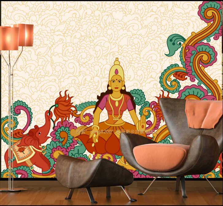 Kustom wallpaper vintage, Budaya Indian gajah, 3D stereoscopic wallpaper untuk ruang tamu, Restoran latar belakang wallpaper