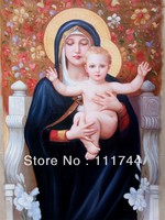 oil painting Canvas Children Angel Portrait paintings The Madonna of the Lilies by William Bouguereau Reproduction Hand painted