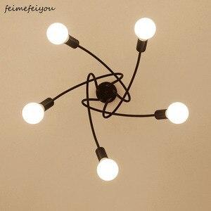 Image 1 - Lámparas de techo modernas para sala de estar, dormitorio, comedor, lámpara de estilo Simple nórdico, proceso de pintura en aerosol de Metal, negro, blanco y rojo