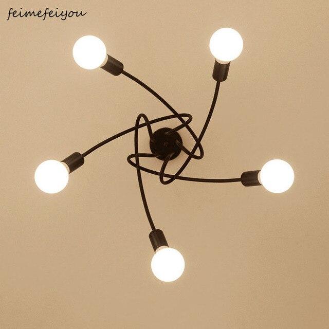 Lámparas de techo modernas para sala de estar, dormitorio, comedor, lámpara de estilo Simple nórdico, proceso de pintura en aerosol de Metal, negro, blanco y rojo