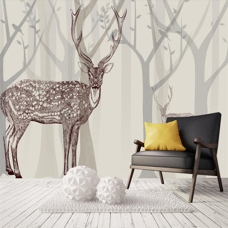Wallpaper Murals Forest Custom 3d Photo Wall Paper Minimalist Non-Woven Environment Friendly TV Background Living Room Study