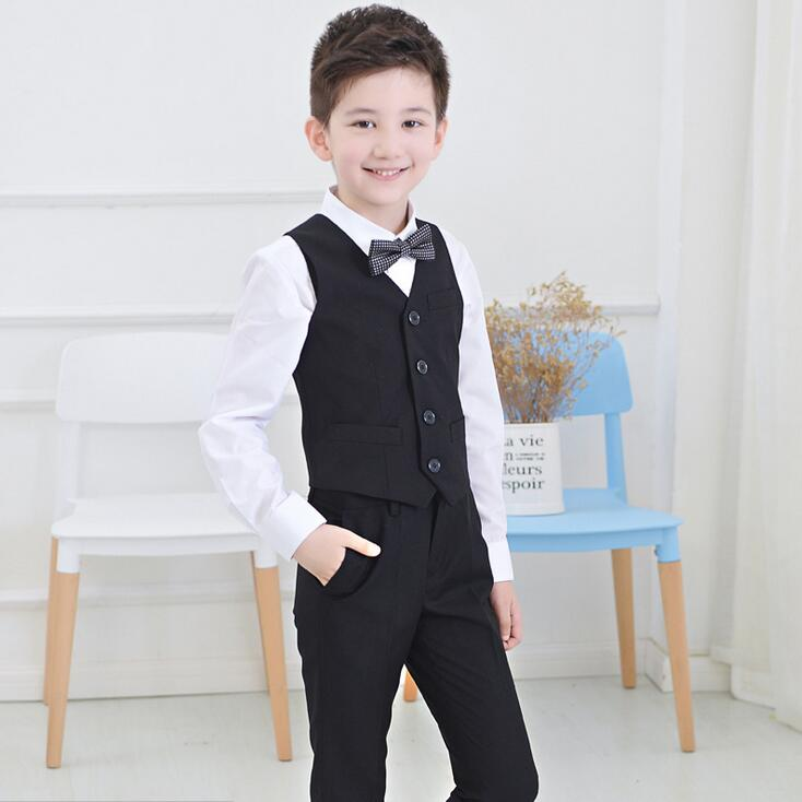 Boys wedding suit Kids Tuxedos Black/Blue boy Outfits 4 pieces ...