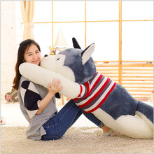 YunNasi 110cm Plush Husky Pillow Real Life Stuffed Dog Animal Squishy Toys For Children Birthday Gifts Soft Toys for Girls Kids