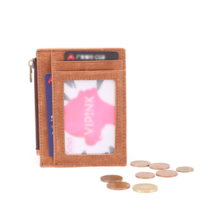 Image 5 - Genuine Leather RFID Credit Card Wallets Retro Multifunctional Men Mini Coin Purses Vintage Women Small Coin Pouch ID Card Case