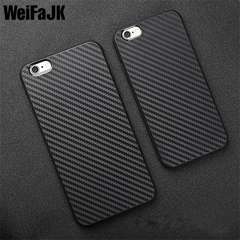 WeiFaJK Luxury Fashion High Quality Phone Case for Apple iPhone 6 6s 6Plus 7 8 Plus Carbon Fibre TPU Soft Cover Phone Bag