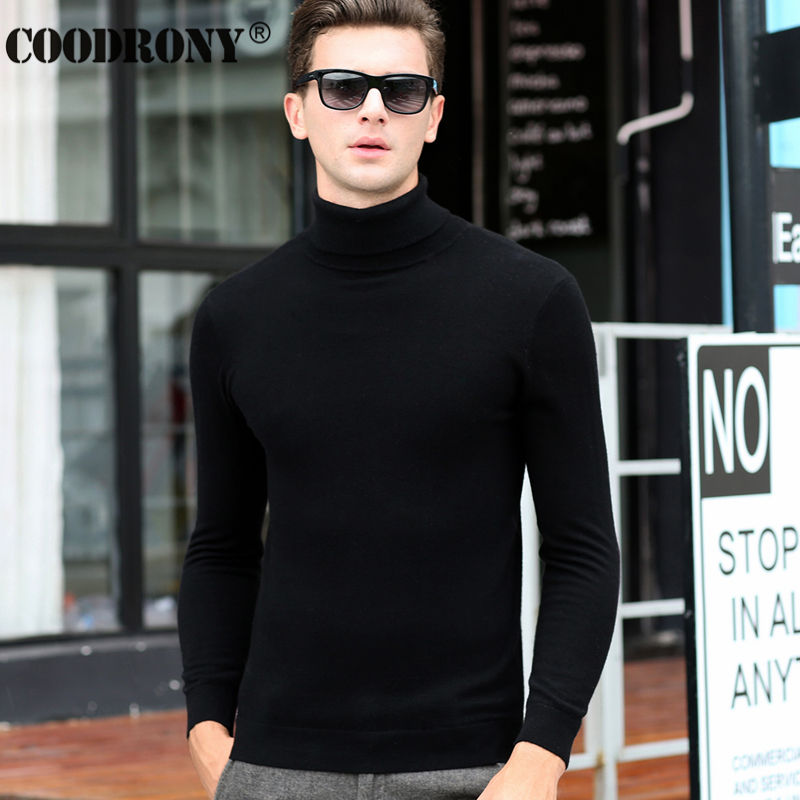 Classic Solid Color Turtleneck Mens Merino Wool Sweater