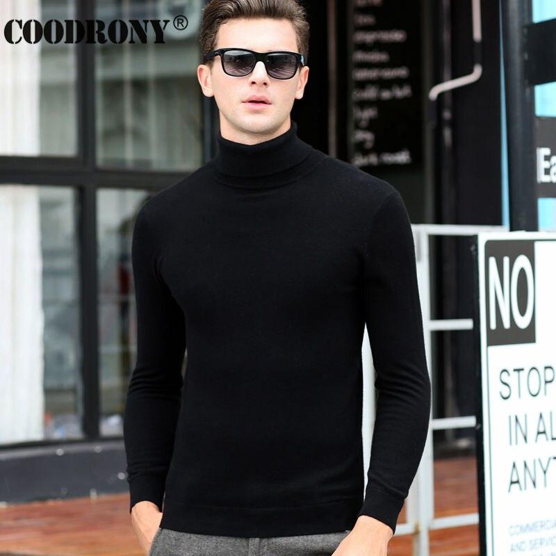 Envío Gratis moda clásica de Color sólido de cuello alto suéter de los hombres de invierno cálido Jersey hombre Slim Fit de Cachemira suéteres de lana 6347