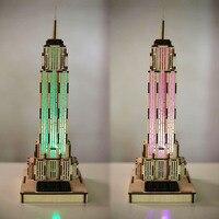 3D Wooden Empire State Building Puzzle 3D Jigsaw Sensor Light 3D Wooden Toy Building Model Assembled