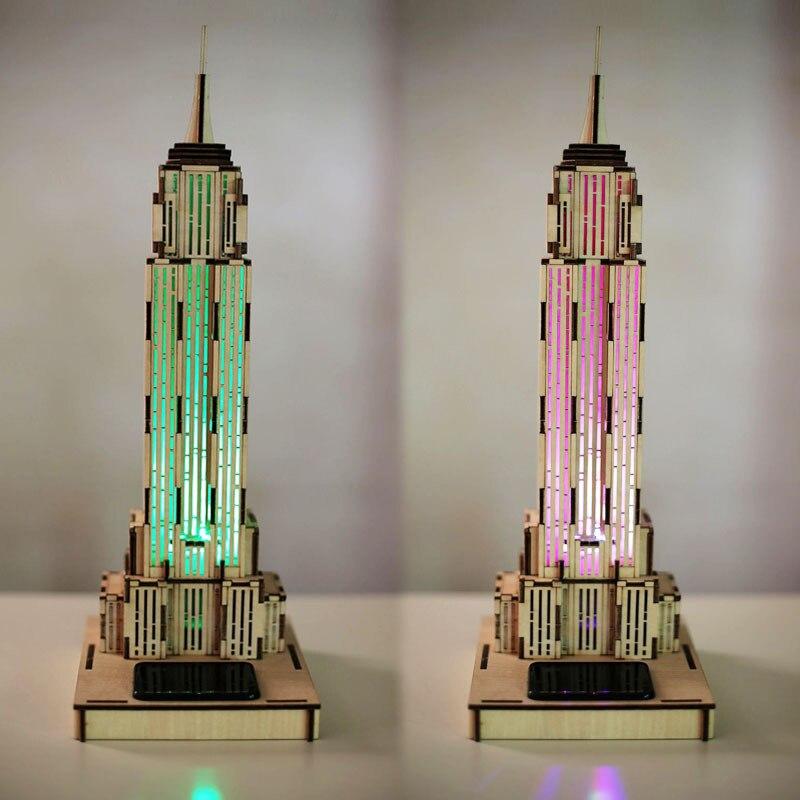 Puzzle de construction d'état Empire en bois 3D-Puzzle 3D, lumière de capteur, modèle de construction de jouet en bois 3D assemblé manuel de Puzzle bricolage 3D